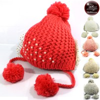 Knitting yarn knitting yarn + Pearl Rabbit fur hat Pomiferous Hats with Pearls Freesize No.010