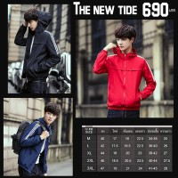 Nice jacket An umbrella jacket with a hood, white band on the sleeves. Available in 3 colors 5 size No.932