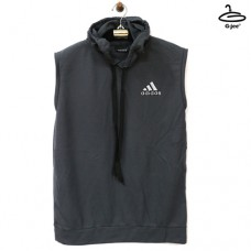 Men's sleeveless shirt with adidas gray hoodie, soft texture, lightweight and soft. Freesize  NO.F1CS01-0568 Gray